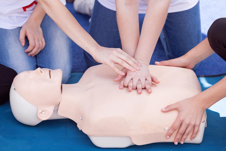 First aid training. CPR - Cardiopulmonary resuscitation class.